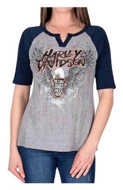 Harley-Davidson Women's Soar Free Forever Embellished Raglan Sleeve Tee, Gray - Wisconsin Harley-Davidson