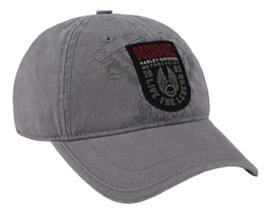 Harley-Davidson Men's Forged Woven Patch Baseball Cap, Gray Washed BCC31954 - Wisconsin Harley-Davidson