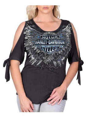 Harley-Davidson Women's Voltaire Embellished 3/4 Sleeve Cold Shoulder Top, Gray - Wisconsin Harley-Davidson