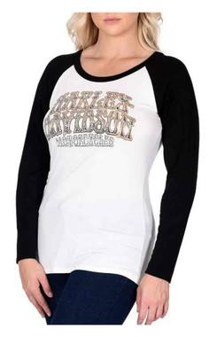 Harley-Davidson Women's Groovy Rider Embellished Long Sleeve Raglan Top, White - Wisconsin Harley-Davidson