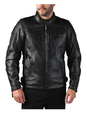 Leather King Men/'s Lambskin Leather Shirt w// Snap Down Collar LKM1600