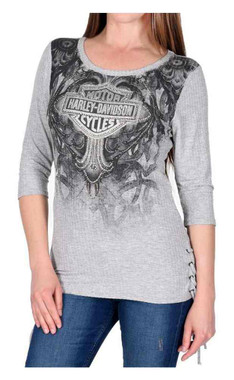 Harley-Davidson Women's Stone Soul Embellished 3/4 Sleeve Lace-Up Sides Top - Wisconsin Harley-Davidson