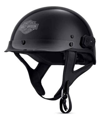 Harley-Davidson Men's Boom! Audio N01 Half Helmet, Gloss Black 98316-18VX - Wisconsin Harley-Davidson