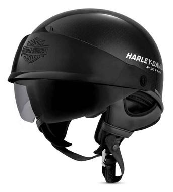 Harley-Davidson Men's FXRG J07 Carbon Fiber Half Helmet, Gloss Black 98254-19VX - Wisconsin Harley-Davidson