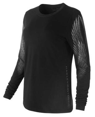 Harley-Davidson Women's Winged Sleeve Long Sleeve Tee Shirt, Black 99127-19VW - Wisconsin Harley-Davidson