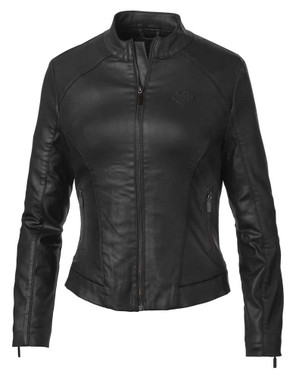 Harley-Davidson Women's Winged Back Coated Synthetic Jacket, Black 98402-19VW - Wisconsin Harley-Davidson