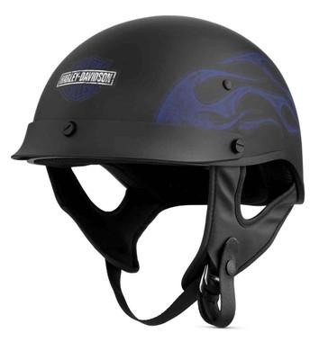 Harley-Davidson Men's Wheeler M04 Half Helmet, Matte Black w/ Blue 98132-18VX - Wisconsin Harley-Davidson