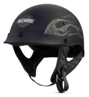 Harley-Davidson Men's Wheeler M04 Half Helmet, Matte Black w/ Gray 98131-18VX - Wisconsin Harley-Davidson