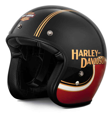 Harley-Davidson Men's The Shovel B01 3/4 Helmet - Red & Black 98277-19VX - Wisconsin Harley-Davidson