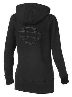 Harley-Davidson Women's Long-Line Logo Zippered Hoodie, Charcoal 99176-19VW - Wisconsin Harley-Davidson
