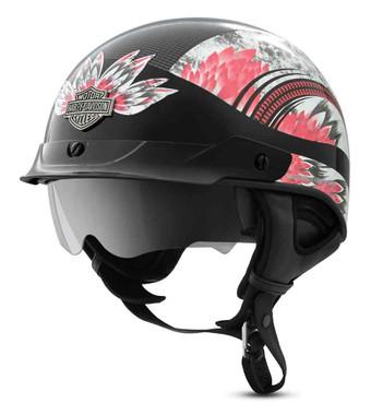 Harley-Davidson Women's Terrace Dream J03 Half Helmet, Black & Pink 98286-19VX - Wisconsin Harley-Davidson