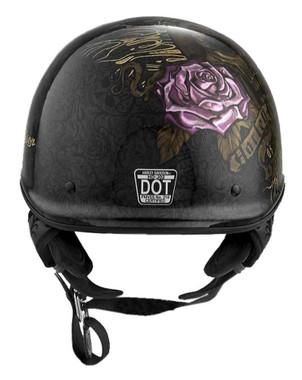 Harley-Davidson Women's Skull & Roses J02 Half Helmet, Gloss Black 98295-19VX - Wisconsin Harley-Davidson