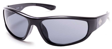 Harley-Davidson Men's Comfort Rubber Temple Sunglasses, Shiny Black/Smoke Lenses - Wisconsin Harley-Davidson