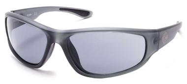 Harley-Davidson Men's Comfort Rubber Temple Sunglasses, Gray Frame/Smoke Lenses - Wisconsin Harley-Davidson