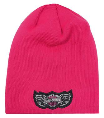 Harley-Davidson Little Girls' B&S Logo Slouchy Knit Beanie Hat, Pink 7233837 - Wisconsin Harley-Davidson