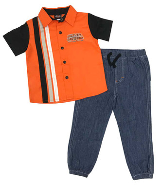 Harley-Davidson Little Boys' Shop Shirt & Denim Pant 2-Piece Toddler Set 2073809 - Wisconsin Harley-Davidson