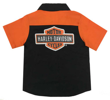 Harley-Davidson Little Boys' Short Sleeve Woven Shop Shirt, Black 1073865 - Wisconsin Harley-Davidson