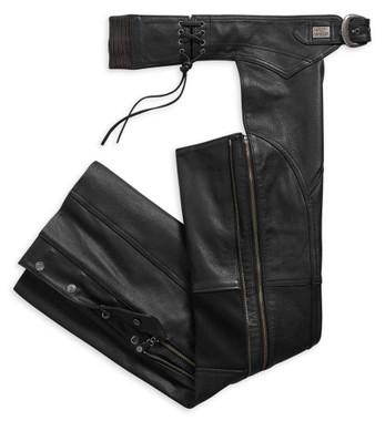 Harley-Davidson Women's Deluxe II Midweight Leather Chaps, Black 98046-19VW - Wisconsin Harley-Davidson