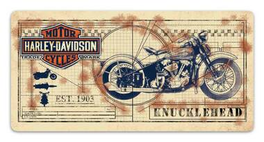 Harley-Davidson Knucklehead Print Embossed Tin Sign, 20 x 10 inches 2011991 - Wisconsin Harley-Davidson