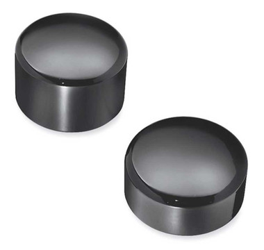 Harley-Davidson Rear Axle Nut Covers - Billet Cut, Gloss Black 43422-09 - Wisconsin Harley-Davidson