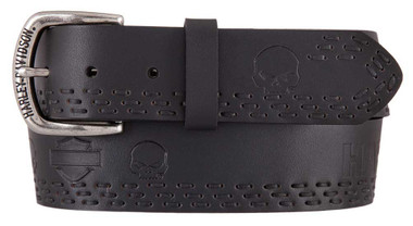 Harley-Davidson Men's Eliminator Genuine Leather Belt, Black HDMBT11439 - Wisconsin Harley-Davidson