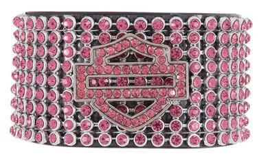 Harley-Davidson Women's Date Night Rhinestone Leather Cuff, Pink HDWCU10111-PNK - Wisconsin Harley-Davidson