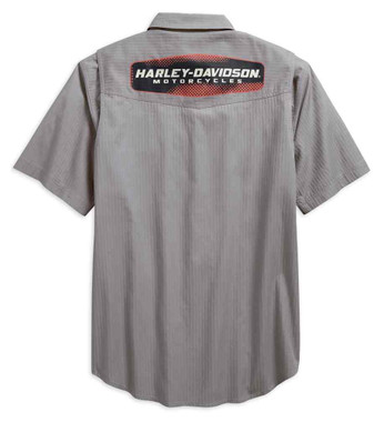 Harley-Davidson Men's Performance Vented Textured Woven Shirt, Gray 96547-19VM - Wisconsin Harley-Davidson