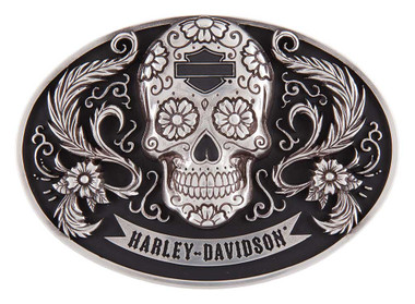 Harley-Davidson Women's Vida Skull Belt Buckle, Polished Silver HDWBU11503 - Wisconsin Harley-Davidson