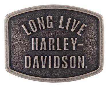 Harley-Davidson Men's Long Live Belt Buckle, Antique Nickle Finish HDMBU11609 - Wisconsin Harley-Davidson