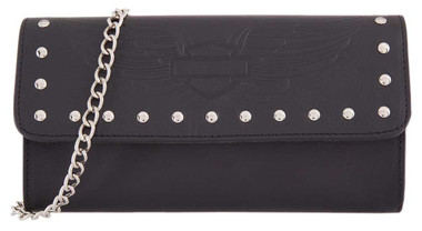 Harley-Davidson Women's Wings Leather Wallet w/ Chain, 8 x 4.25 inch HDWWA11470 - Wisconsin Harley-Davidson