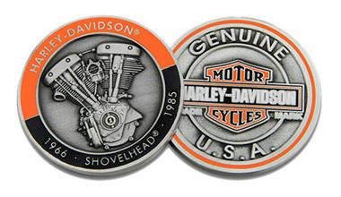 Harley-Davidson Shovelhead Bar & Shield Challenge Coin, 1.75 in Coin 8008765 - Wisconsin Harley-Davidson