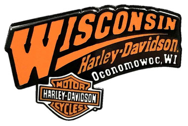 Wisconsin Harley-Davidson 2D Die-Cast Dealer Pin, Black & Orange W PIN - Wisconsin Harley-Davidson