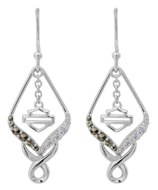 Harley-Davidson Women's Salt & Pepper Twist Embellished Drop Earrings HDE0471 - Wisconsin Harley-Davidson