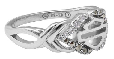 Harley-Davidson Women's Salt & Pepper Twist Ring, Sterling Silver HDR0477 - Wisconsin Harley-Davidson