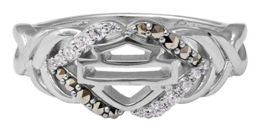 Harley-Davidson Women's Salt & Pepper Twist Ring, Sterling Silver HDR0477 - Wisconsin Harley-Davidson