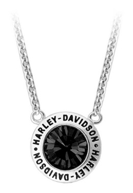 Harley-Davidson Women's Black Crystal Stone Script Chain Necklace HDN0403 - Wisconsin Harley-Davidson