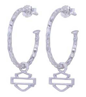 Harley-Davidson Women's Hammered Design With Bar & Shield Hoop Earrings HDE0442 - Wisconsin Harley-Davidson