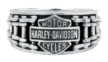 Harley-Davidson Men's Bar & Shield Bike Chain Ring, Sterling Silver HDR0260 - Wisconsin Harley-Davidson