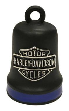 Harley-Davidson Bar & Shield Ride Bell, Matte Black w/ Blue Stripe HRB096 - Wisconsin Harley-Davidson