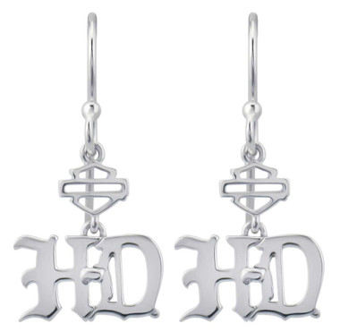 Harley-Davidson Women's Old English Script Bar & Shield Drop Earrings HDE0475 - Wisconsin Harley-Davidson