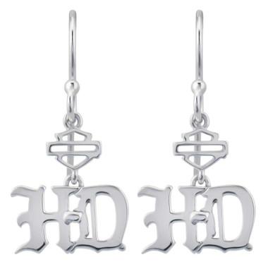 Harley-Davidson Women's Old English Script Bar & Shield Drop Earrings HDE0475 - Wisconsin Harley-Davidson