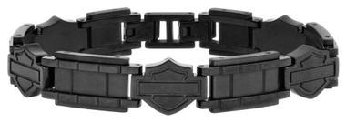 Harley-Davidson Men's Black Steel Bar & Shield Chain Bracelet, Black HSB0190 - Wisconsin Harley-Davidson