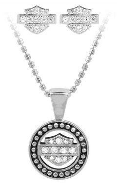 Harley-Davidson Women's White Crystal B&S Necklace & Earring Set HDS0002-18 - Wisconsin Harley-Davidson