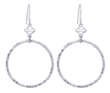 Harley-Davidson Women's Hammered Hoop With Bar & Shield Hook Earrings HDE0441 - Wisconsin Harley-Davidson