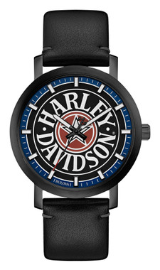 Harley-Davidson Men's Iconic Fat Boy Leather & Stainless Steel Watch 78A120 - Wisconsin Harley-Davidson