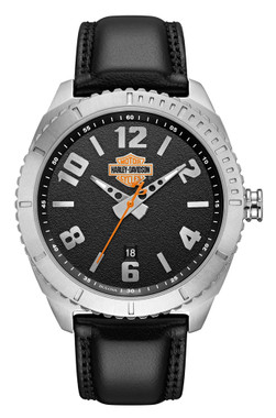 Harley-Davidson Men's B&S Grained Leather & Stainless Steel Watch 76B181 - Wisconsin Harley-Davidson