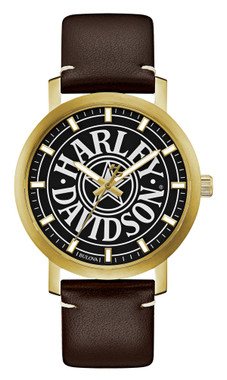 Harley-Davidson Men's Iconic Fat Boy Gold-Tone Stainless Steel Watch 77A100 - Wisconsin Harley-Davidson