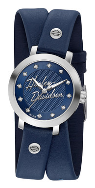 Harley-Davidson Women's Crystal Double Wrap Leather Watch - Blue 76L189 - Wisconsin Harley-Davidson