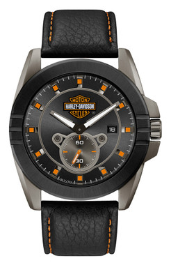 Harley-Davidson Men's Gray-Tone Stainless Steel & Leather Watch 78B182 - Wisconsin Harley-Davidson