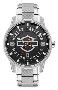 Harley-Davidson Men's Open Bar & Shield Stainless Steel Watch, Silver 76B182 - Wisconsin Harley-Davidson